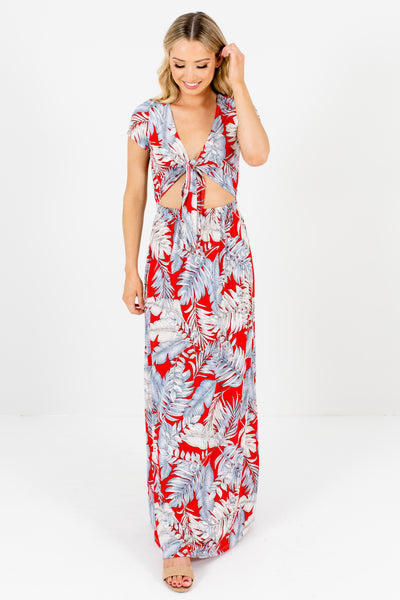 Red Tropical Patterned Cute and Comfortable Boutique Maxi Dresses for Women
