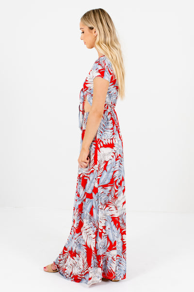 Red Patterned Cutout Bodice Detail Boutique Maxi Dresses for Women