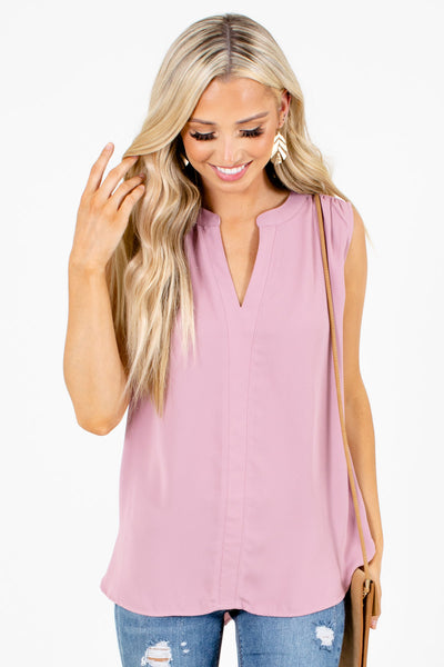 Pink Split V-Neckline Boutique Tank Tops for Women
