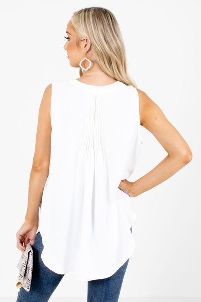 Women's White Business Casual Boutique Tanks