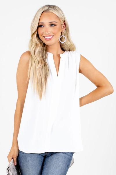 White High-Low Hem Boutique Tank Tops for Women