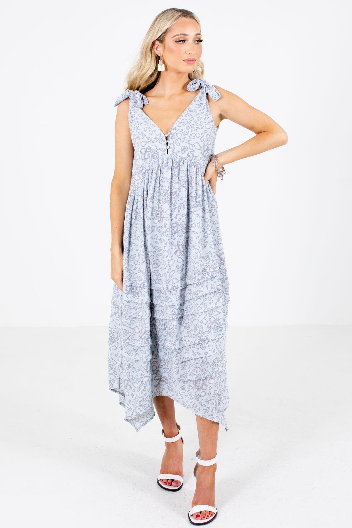 Sage Unique Floral Patterned Boutique Midi Dresses for Women