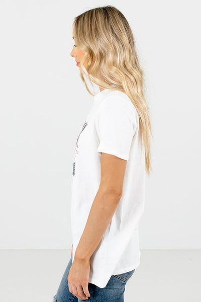White Lightweight High-Quality Material Boutique Tops for Women