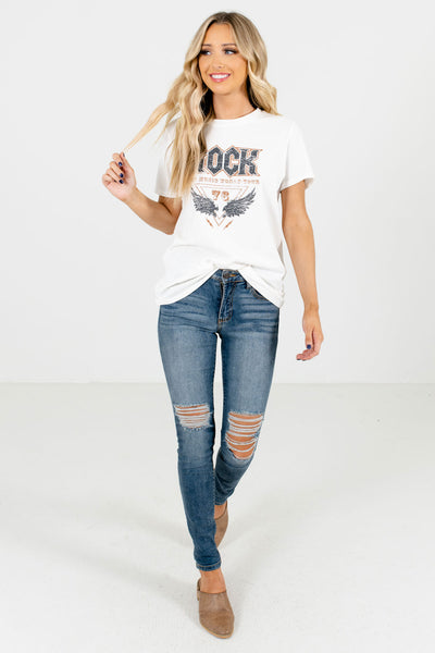 Women's White Fall and Winter Boutique T-Shirts