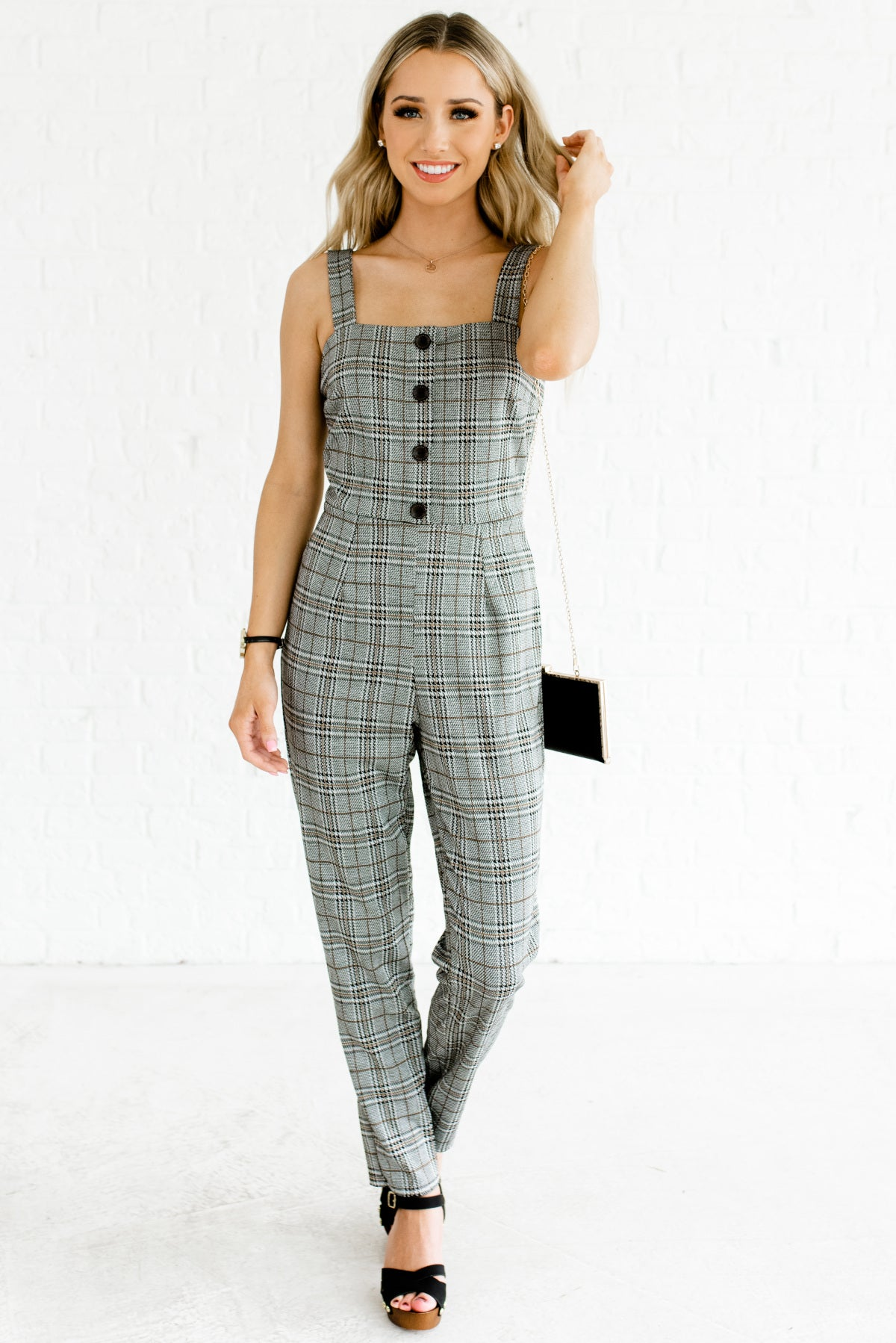 Gray Black and Mustard Houndstooth Plaid Boutique Jumpsuits for Women
