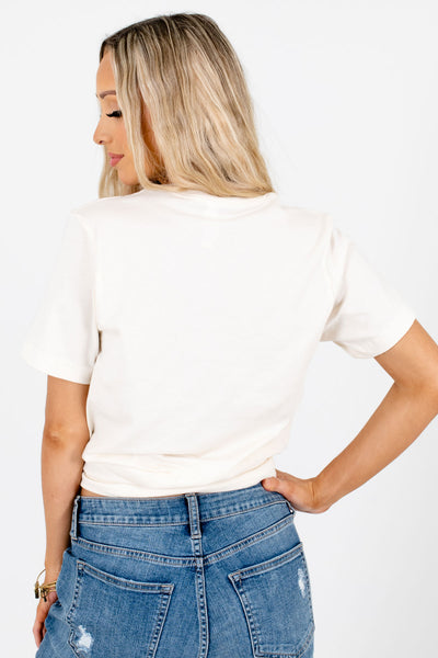 Women's Cream Lightweight High-Quality Boutique Tees