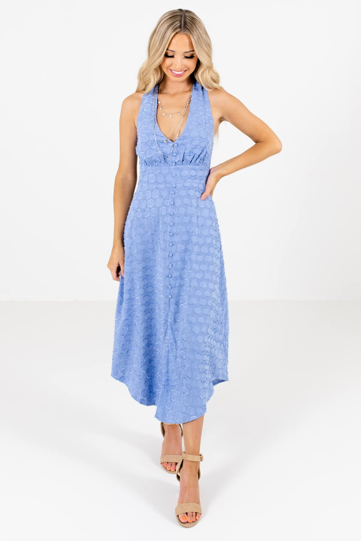 Light Blue Textured Material Boutique Midi Dresses for Women