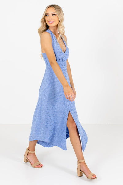 Women's Light Blue Deep V-Neckline Boutique Midi Dresses
