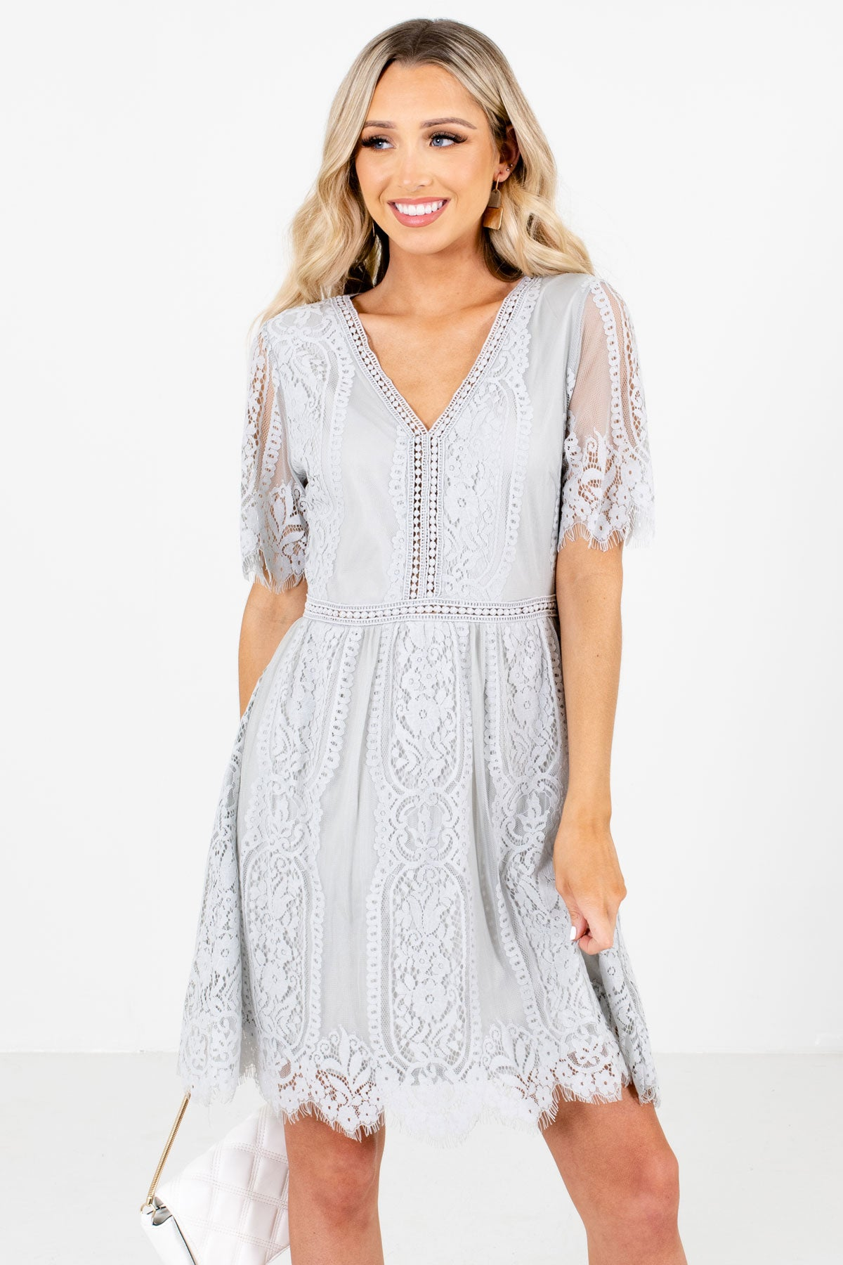 Light Gray High-Quality Lace Material Boutique Mini Dresses for Women