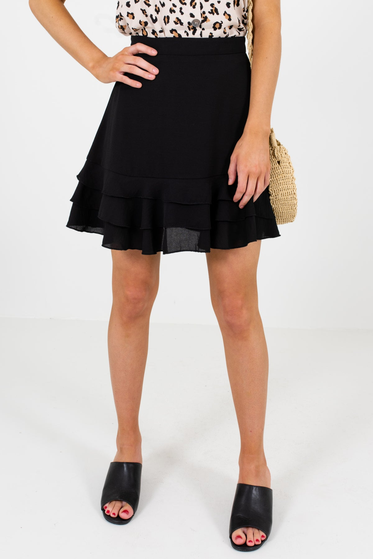 Black Ruffled Hem Mini Length Boutique Skirts for Women