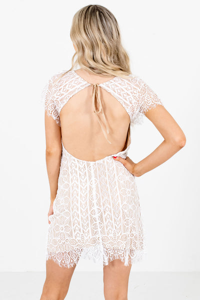 Women's White Open Back Boutique Mini Dress