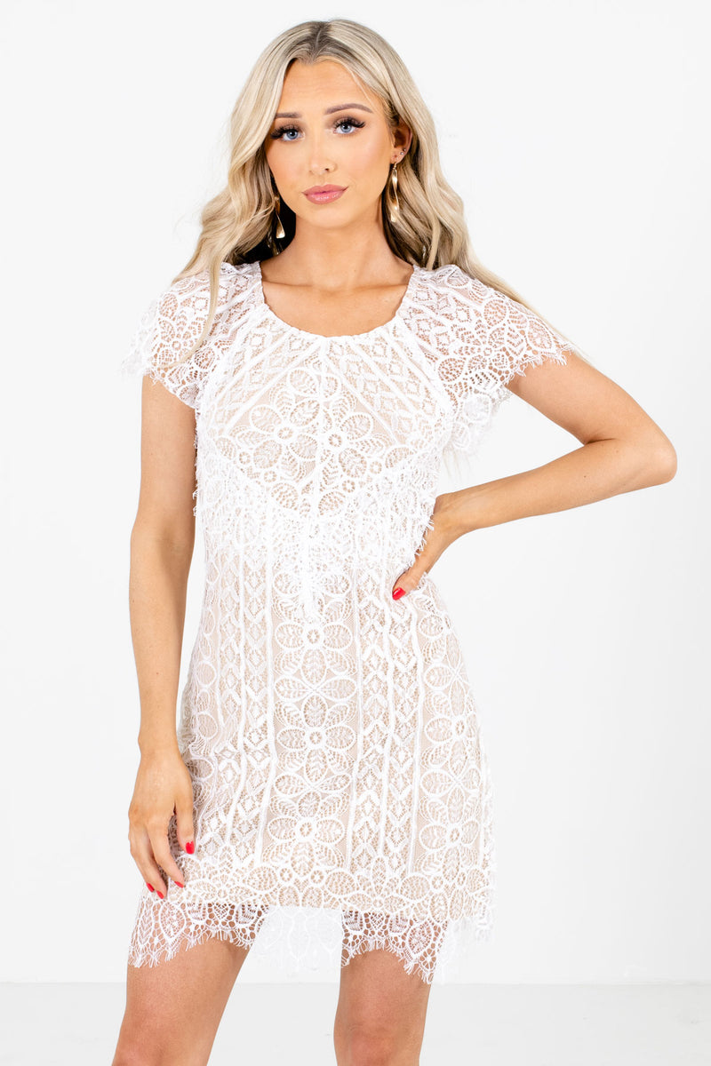 Rose Ceremony White Lace Mini Dress