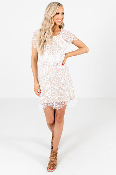 Women's White Cute and Comfortable Boutique Mini Dress
