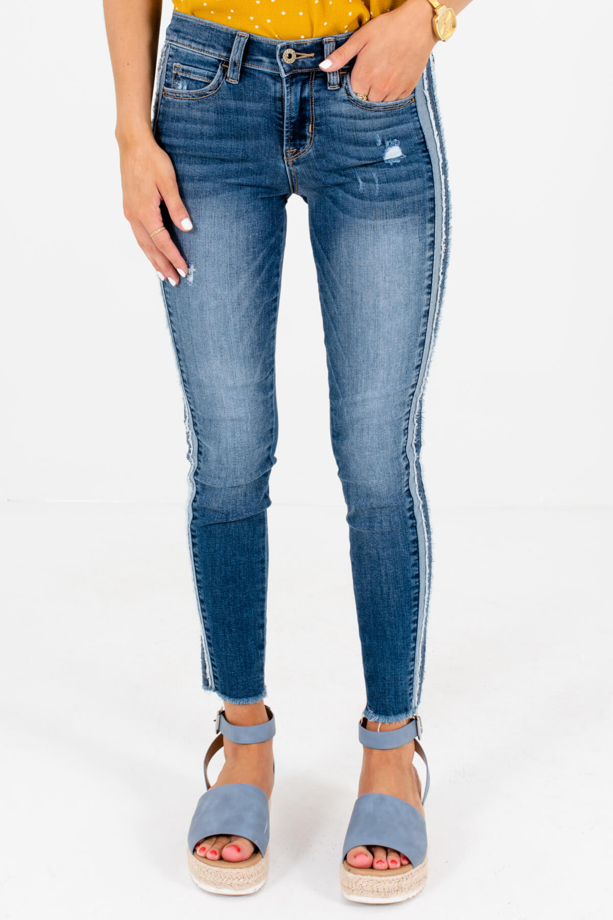 Medium Wash Denim Blue Skinny Style Boutique Jeans for Women