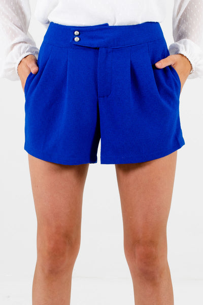 Royal Blue Pearl Button Boutique Shorts for Women