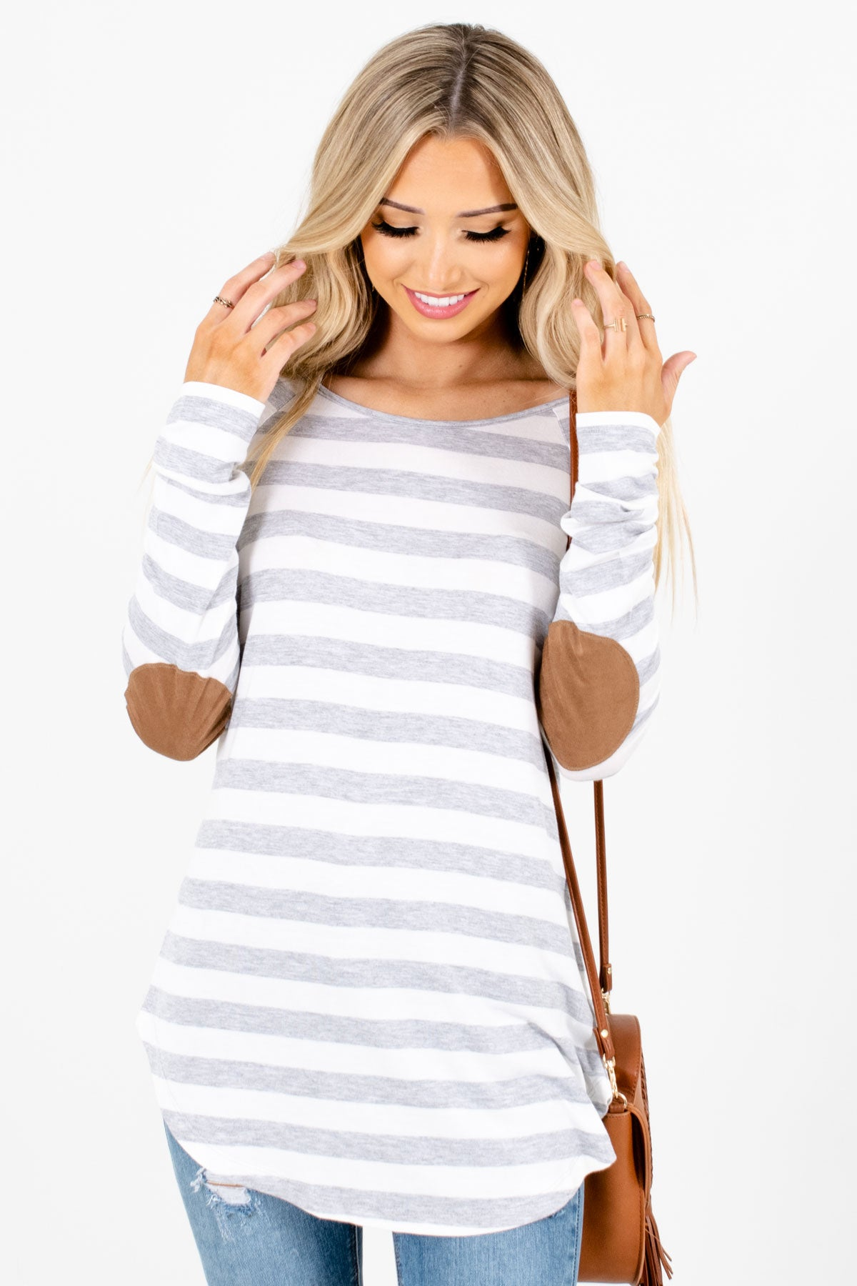 Gray and White Stripe Patterned Boutique Tops for Women