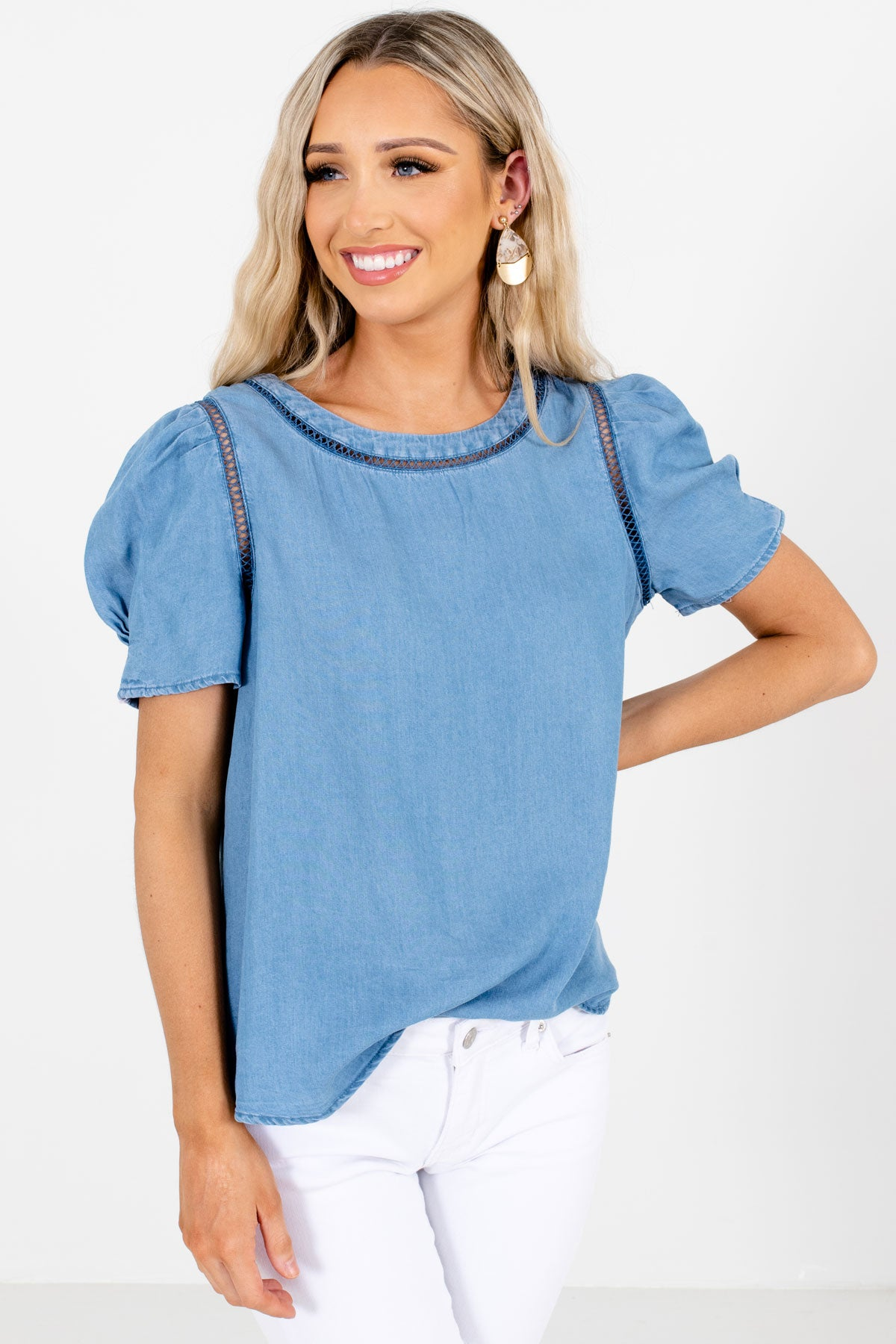 Blue High-Quality Chambray Material Boutique Blouses for Women