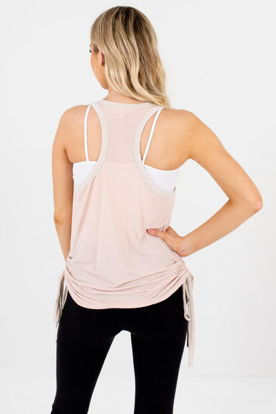 Blush Pink Cream Ringer Tank Tops with Drawstring Accents