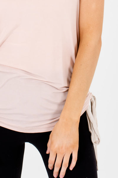 Blush Pink Cream Ruched Drawstring Tank Tops for Women