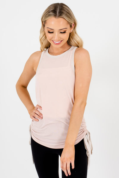 Blush Pink Drawstring Tank Tops Affordable Online Boutique