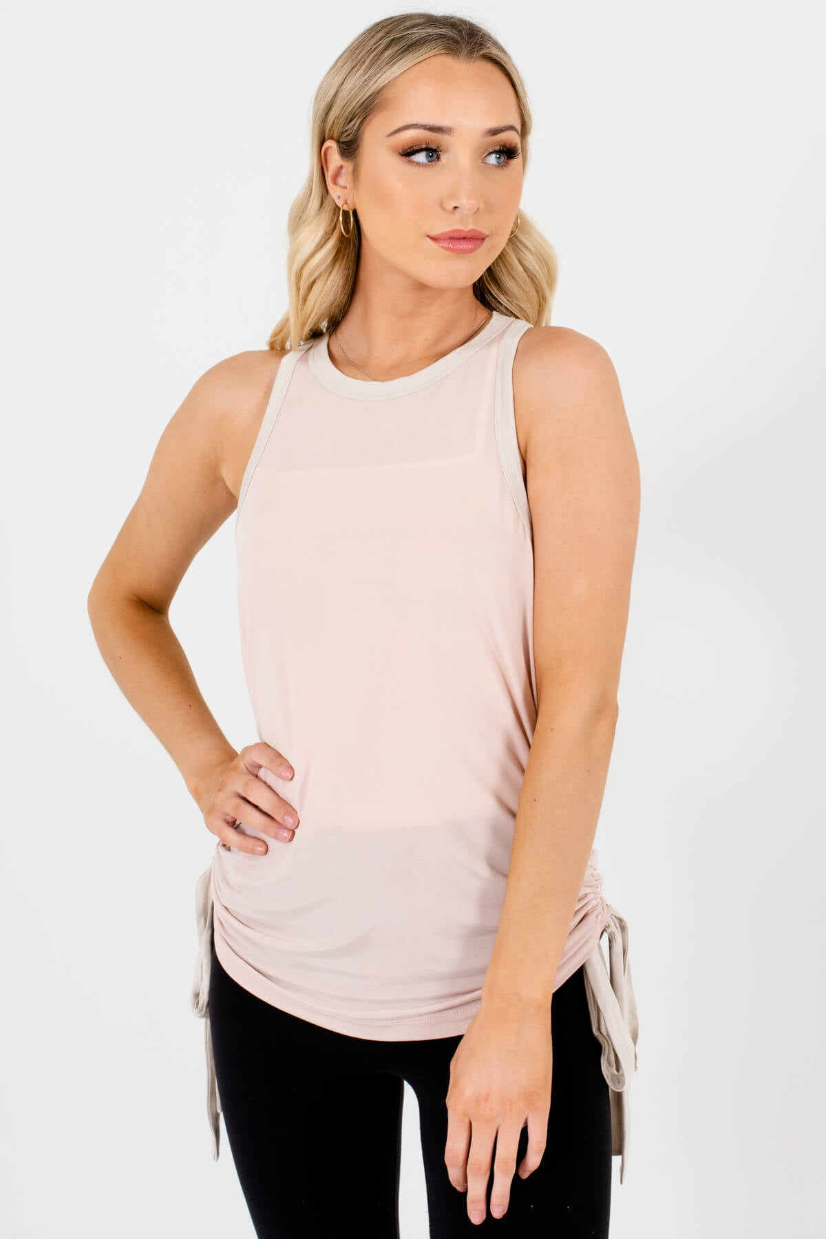 Blush Pink Ruched Drawstring Racerback Tank Tops for Women