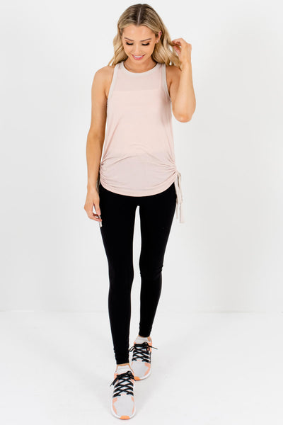 Blush Pink Racerback Ruched Drawstring Tank Tops for Women