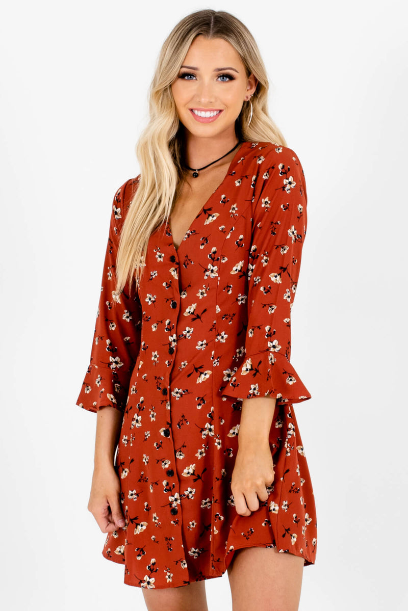 Rustic Garden Orange Floral Mini Dress