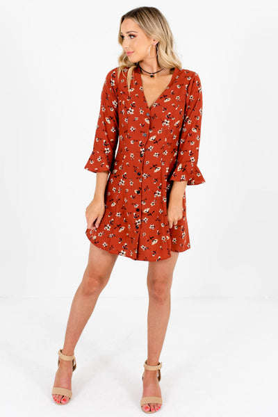 Rust Orange Floral Cute and Comfortable Boutique Mini Dresses for Women