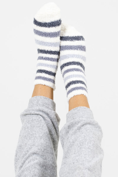 Women's Gray Fuzzy and Warm Boutique Socks