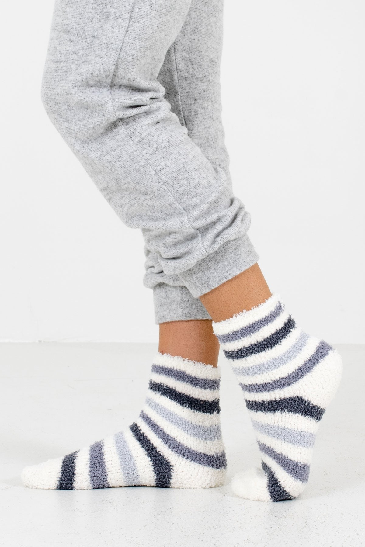 Gray Striped Patterned Boutique Socks for Women