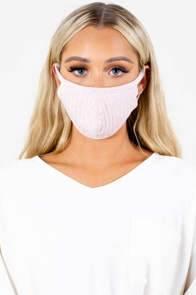 Pink Ribbed Material Boutique Face Masks for Women