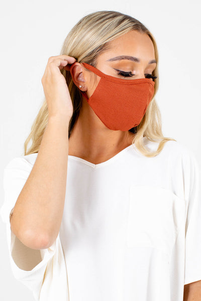 Women's Rust Orange Breathable Boutique Face Mask
