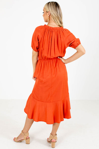 Women's Orange High-Low Hem Boutique Knee-Length Dress
