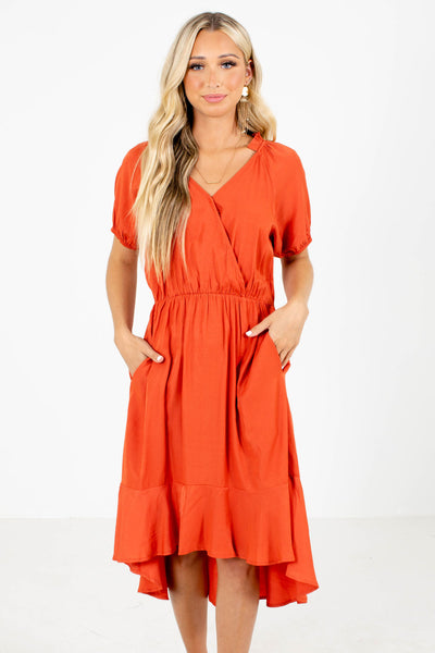 Orange Faux Wrap Style Boutique Knee-Length Dresses for Women