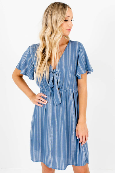 Blue White Stripe Tie Front Mini Dresses for Women