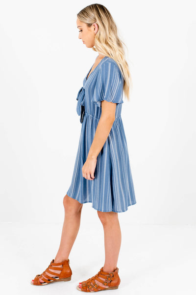 Blue White Stripe Tie Front Mini Dresses Affordable Online Boutique