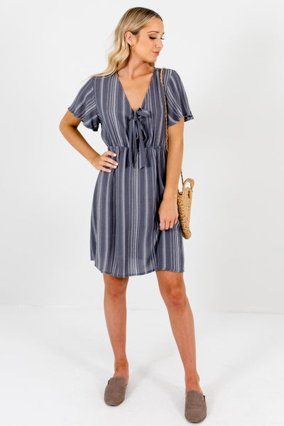 Gray White Stripe Tie Front Mini Dresses Affordable Online Boutique
