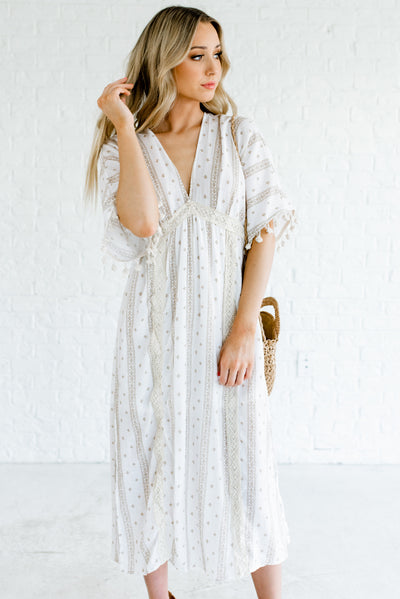 White Patterned Boutique Midi Length Dresses for Women