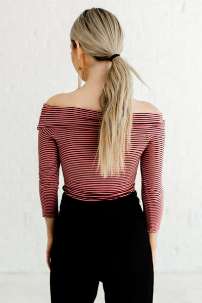 Pink and Black Striped Women's 3/4 Sleeve Boutique Top