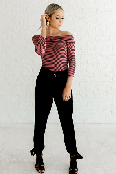 Pink and Black Striped Casual Boutique Tops for Women