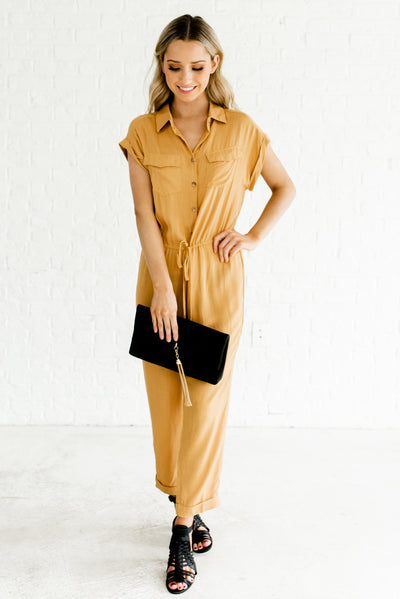 Mustard Yellow Lightweight Flowy Boutique Utility Style Jumpsuits for Women