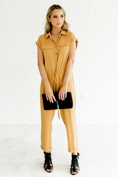 Mustard Yellow Utility Style Boutique Jumpsuits for Women