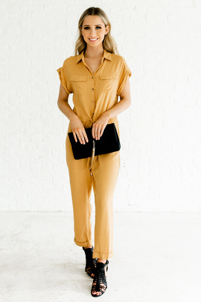 Mustard Yellow Cute Short Sleeve Boutique Jumpsuits for Women