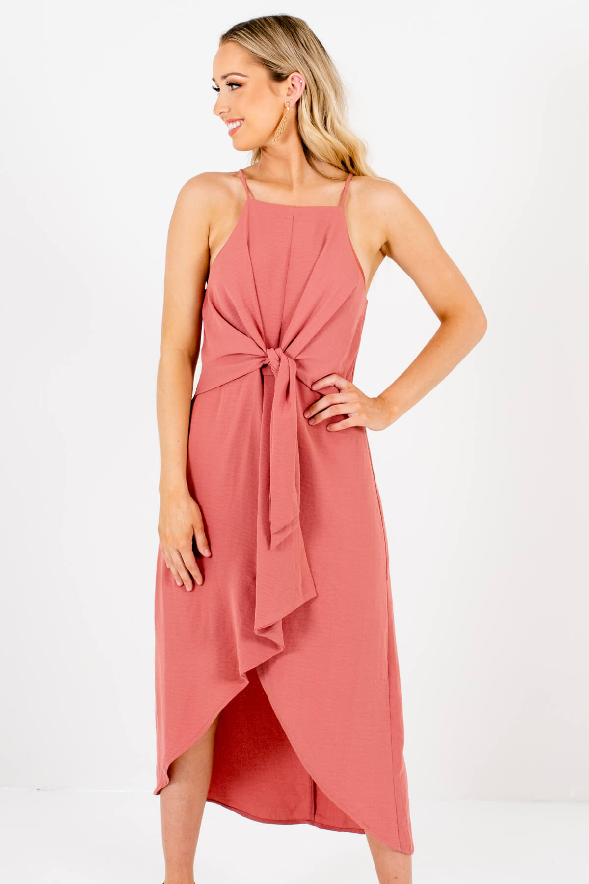 Salmon Pink Tie-Front High-Low Overlay Knee-Length Dresses for Women
