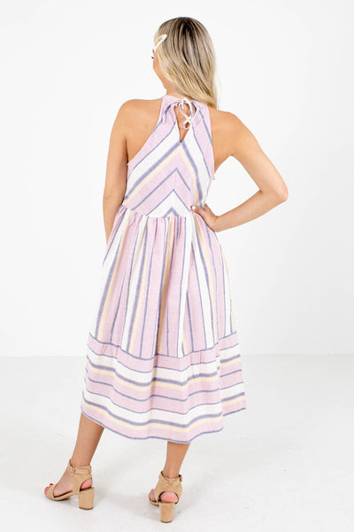 Women's Pink Keyhole Back Boutique Midi Dress
