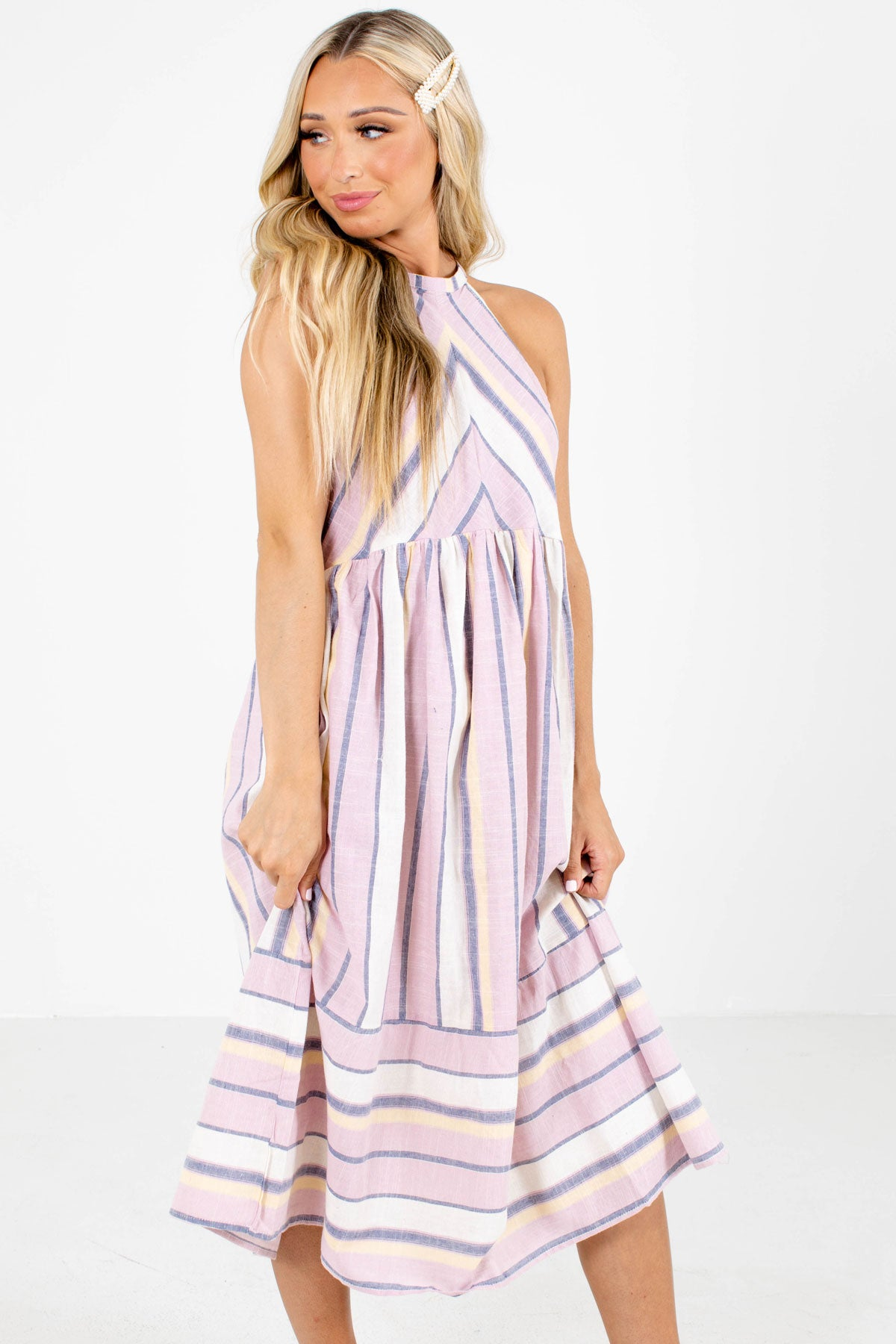 Pink Striped Boutique Midi Dresses for Women