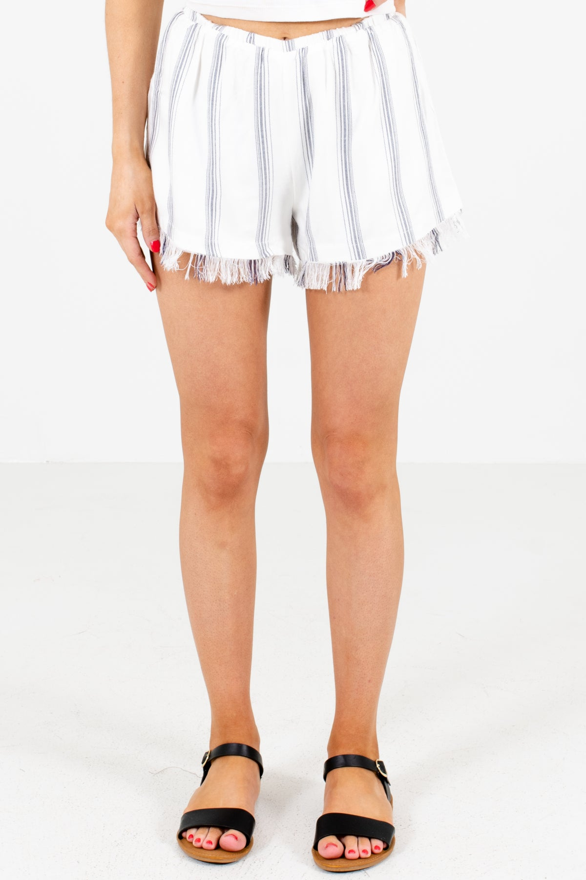 White Striped Boutique Shorts for Women
