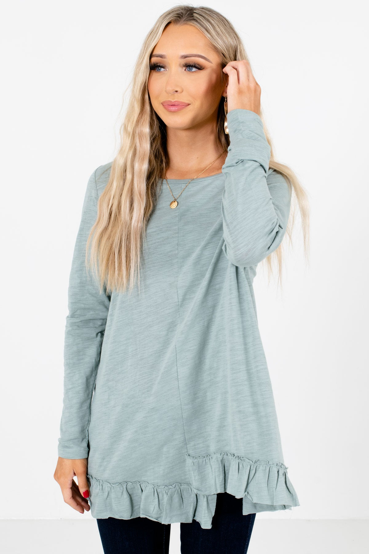 Sage Ruffled Hem Boutique Tops for Women