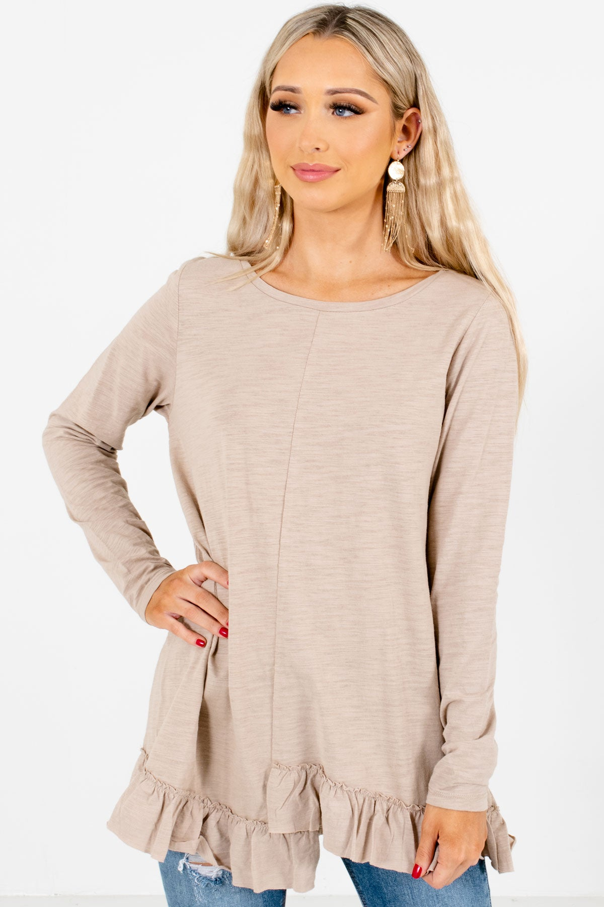 Tan Brown Cute and Comfortable Boutique Tops for Women