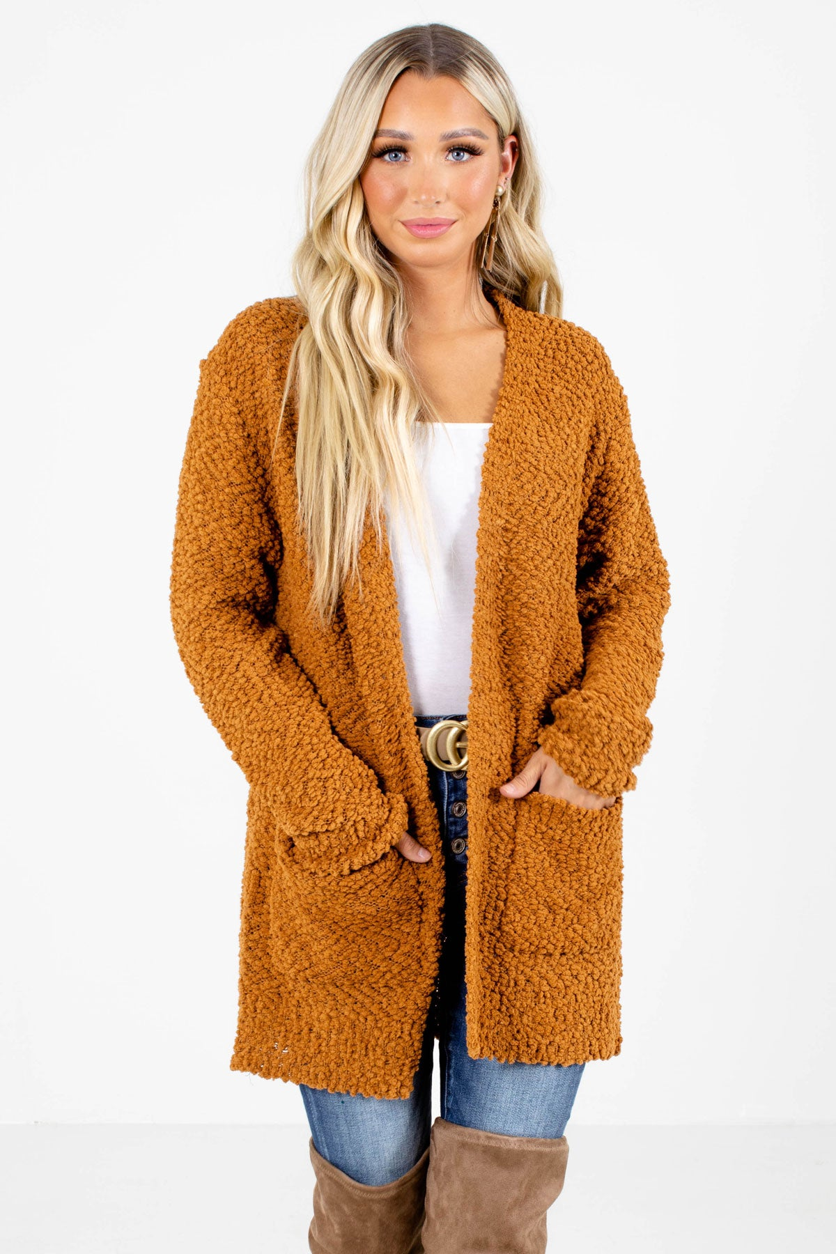 Orange Popcorn Knit Boutique Cardigans for Women